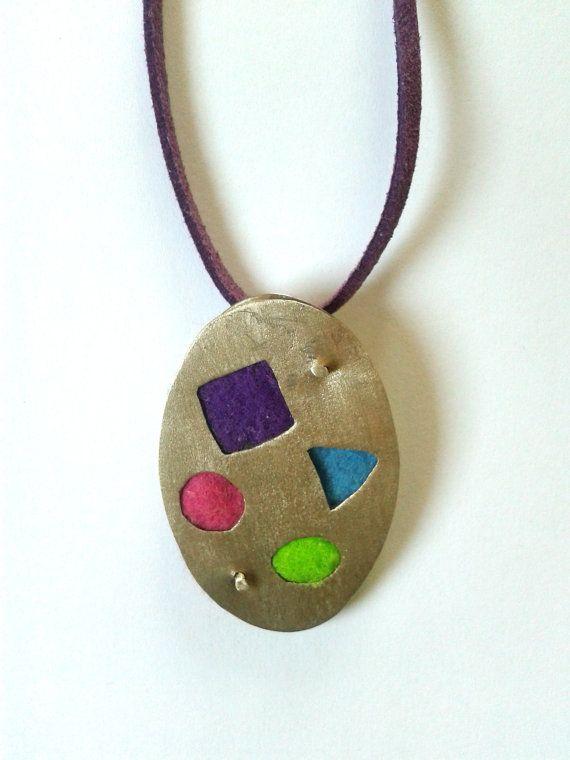 Ηandmade statement pendant with alpaca and felt fabric in purple,light green,fuchsia red and turquoise color