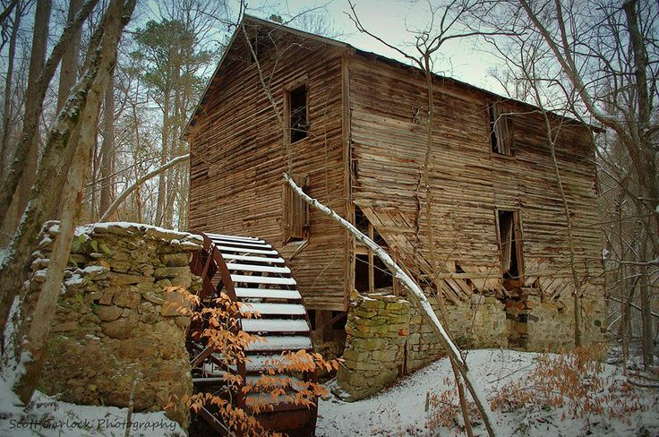 """Winter at the Mill"" Over the years Mother Nature has wrapped her arms around the abandoned Thorne's Mill in Halifax County, NC. The old mill is inundated by birch as well as oak trees and getting an unobstructed view of the mill is a tall order. This is the best angle of the mill in order to capture the it with its water wheel in profile and fairly clear of vegetation. (2014)"