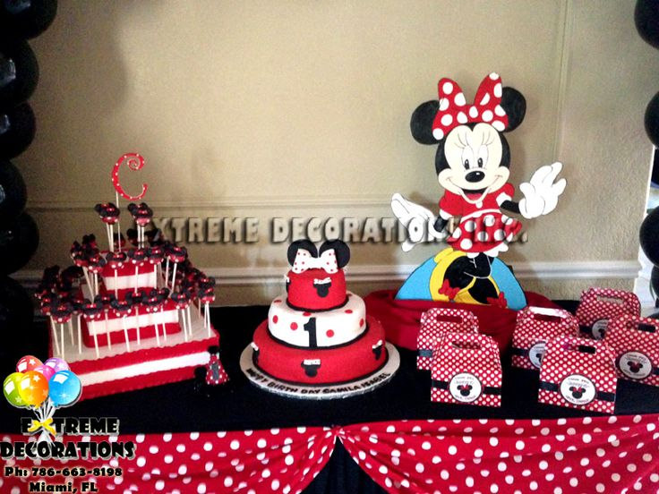 Red and black minnie mouse birthday party