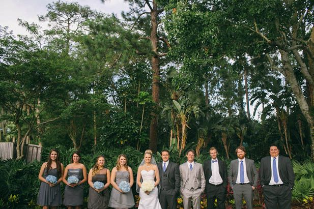 Grey and blue wedding party getup
