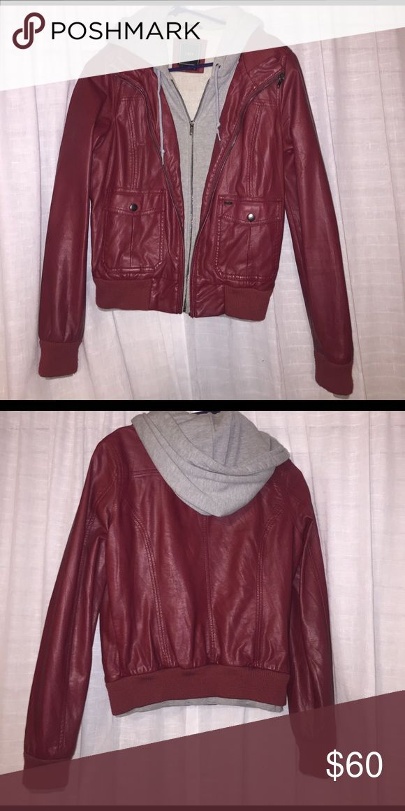 Red leather jacket by Obey Obey red leather jacket with gray hoodie attached Obey Jackets & Coats