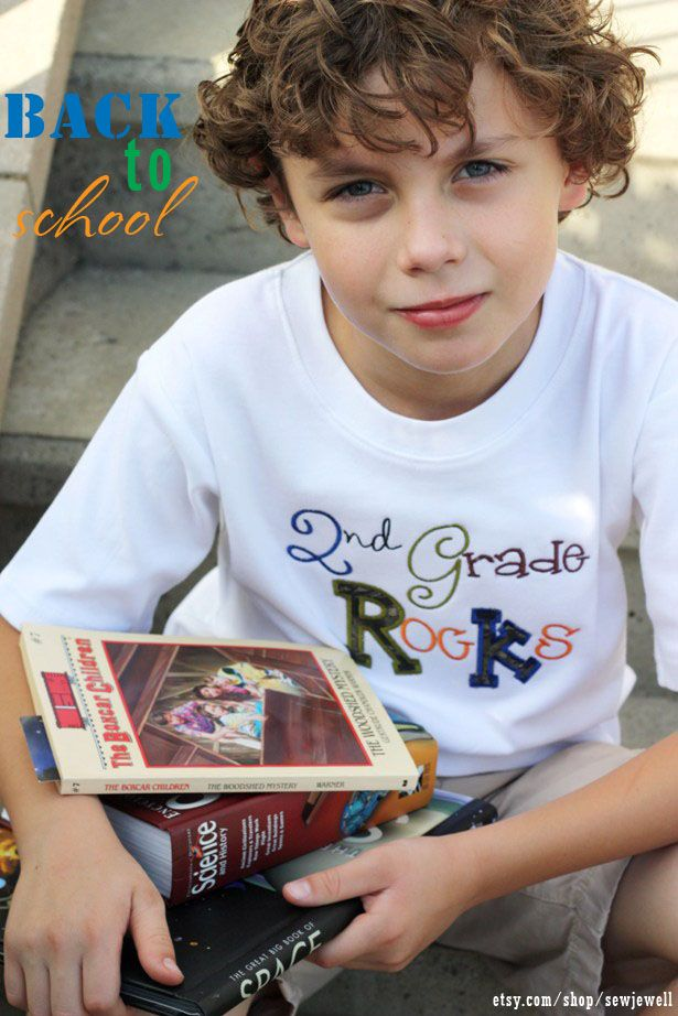Back to school t-shirts ~ My grade rocks and smart cookie shirts from etsy.com/shop/sewjewell
