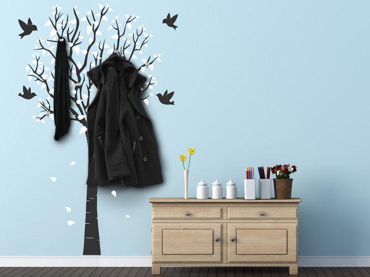 Wandtattoo Garderobe zweifarbiger Baum