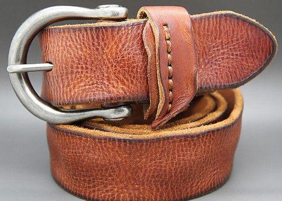 af52ef9abe45 Washing Doing Old leather belt Cattle leather belt copper needle button  Men s leather belt custom le