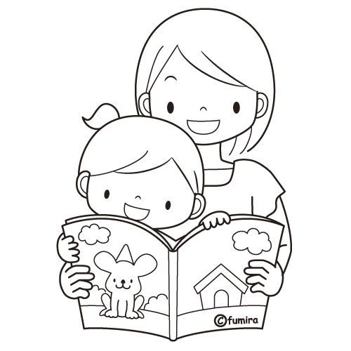 Mom reading to her child, free coloring pages | Coloring Pages