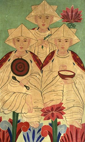 Birth Spirits (Samsin Halmôni), Color and paper on fabric, Mid 20th Century, The Korea Society Collection
