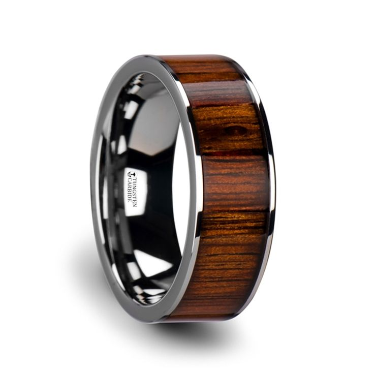 KALANI Flat Tungsten Carbide Wedding Band with Rare Koa Wood Inlay and Polished Edges - 8mm