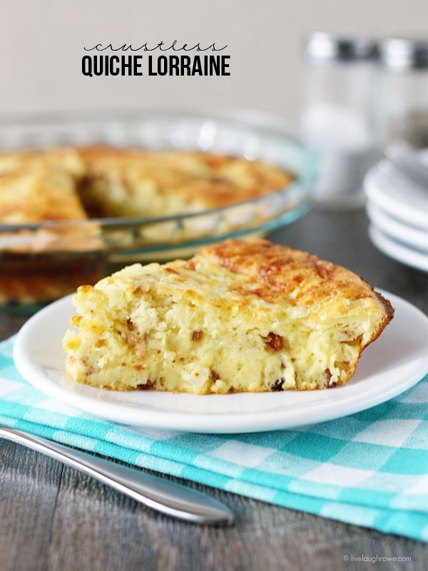 Impossibly Easy Crustless Quiche Lorraine!  Perfect dish for breakfast, lunch or dinner.  Recipe at livelaughrowe.com #GetYourBettyOn