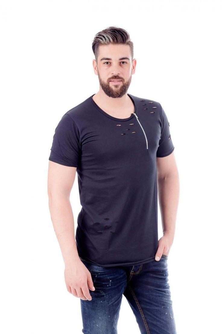 Modagen.com | Erkek Giyim, Erkeklere Özel Alışveriş Sitesi ~ Yaka Fermuarlı Yeni Kesim Erkek Tişört