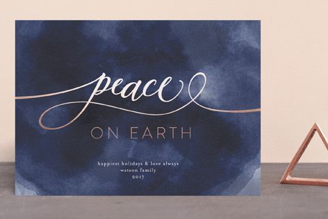"""""""peace on earth marble"""" - Foil-pressed Holiday Cards in Ash by Phrosne Ras."""