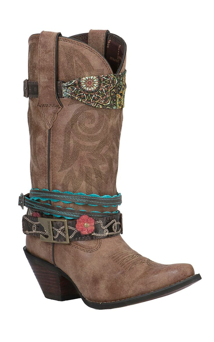 Crush by Durango Women's Brown Snip Toe Accessorized Western Boot   Cavender's