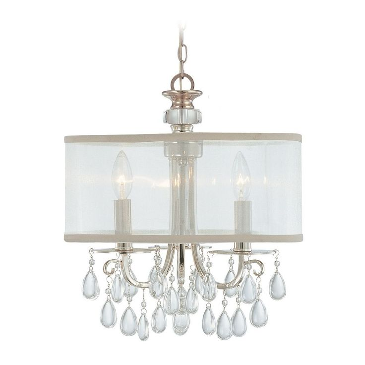 Crystorama Lighting Crystal Mini Chandelier With White Shade In Polished Chrome Finish 5623 Ch