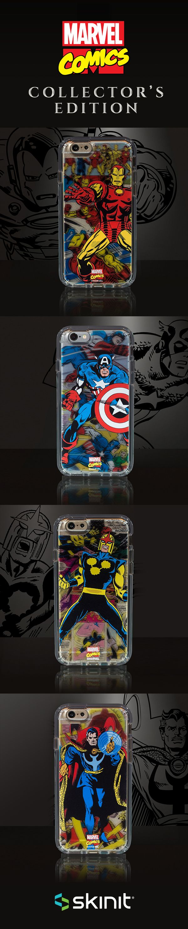 Marvel Collector's Edition | Limited edition transparent cases inspired by the Golden age of Marvel Comics. These special designs are exclusively available for iPhone 6/6s cases & iPhone 6/6s Plus cases at www.skinit.com #Marvel