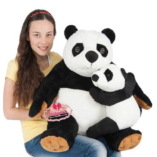 Peluş Panda Yavrulu Büyük Boy 75Cm