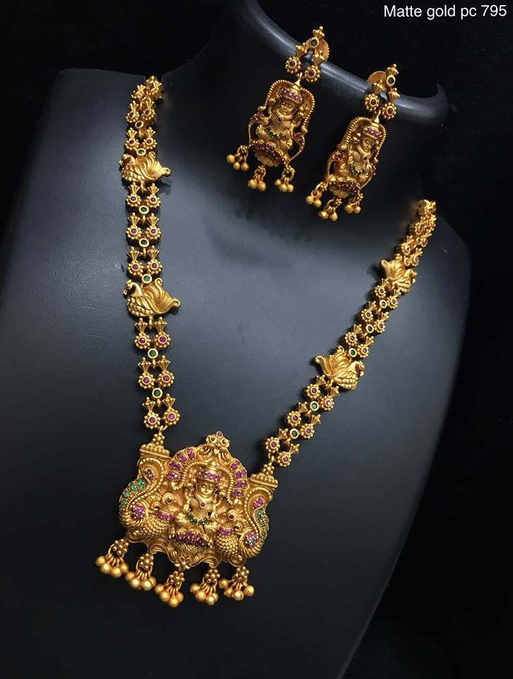 ca6b3351a7 Beautiful one gram gold necklace with lakshmi devi pendant. Necklace with  flower design. Necklace studded with pink and green color stones. 12  December 2017