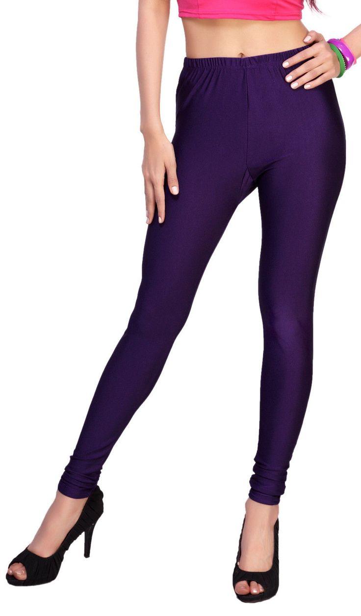 Fancy Imported Cotton Lycra Fabric Plain Women Shiny Leggings 3135