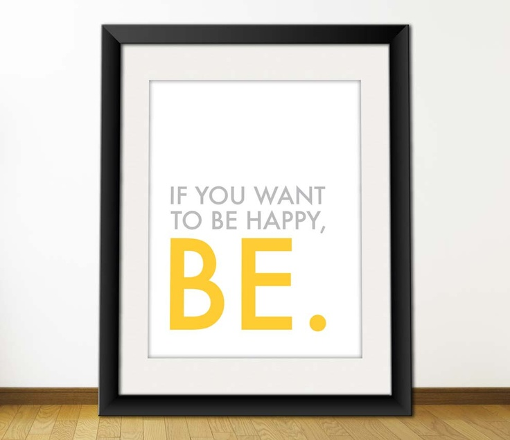 Typography Art Print, Printable Poster, Download And Print JPEG Image - Be Happy. $5.00, via Etsy.