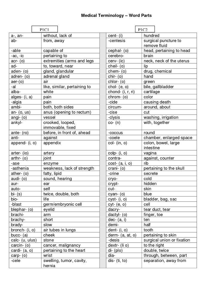 medical terminology | Medical Terminology – Word Parts