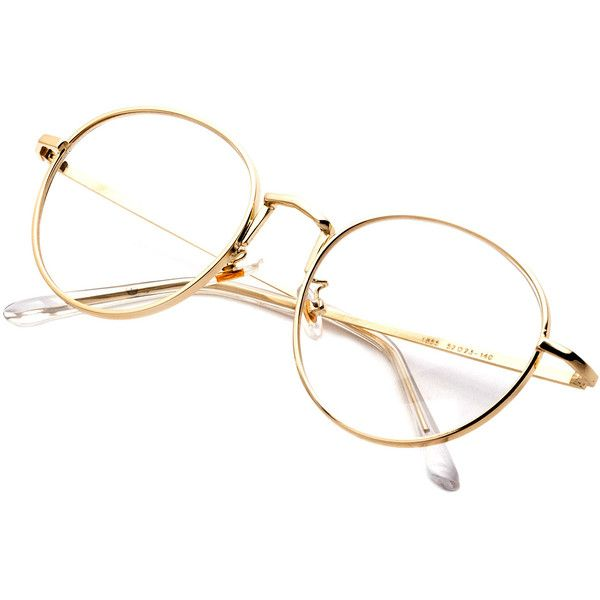 SheIn(sheinside) Gold Delicate Frame Clear Lens Glasses ($9.99) ❤ liked on Polyvore featuring accessories, eyewear, eyeglasses, retro clear glasses, clear glasses, clear eyeglasses, retro glasses and clear eyewear