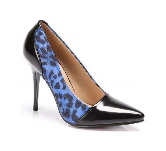 LADIES WOMEN HIGH HEEL BLACK/ BLUE LEOPARD PRINT COURT SHOES SIZE 3-7.5
