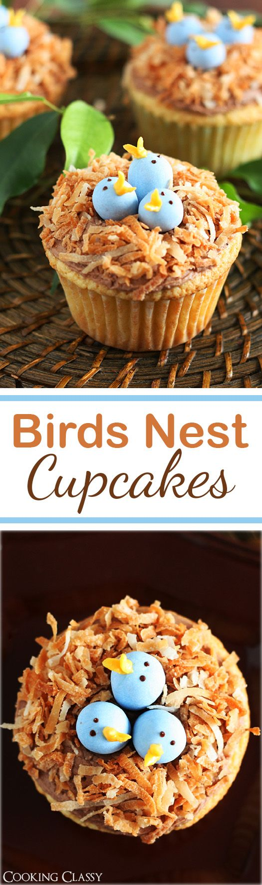 Birds Nest Cupcakes - these are so fun! Vanilla cupcake, chocolate buttercream, toasted coconut and cadbury eggs.
