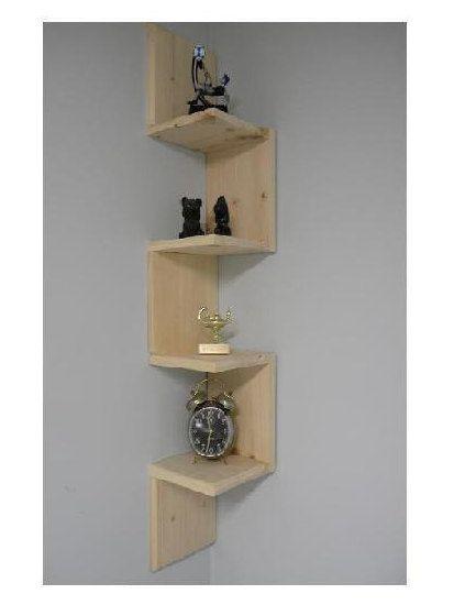 Wall mounted corner shelf Retro 4 tier zig by CustomWoodConcepts