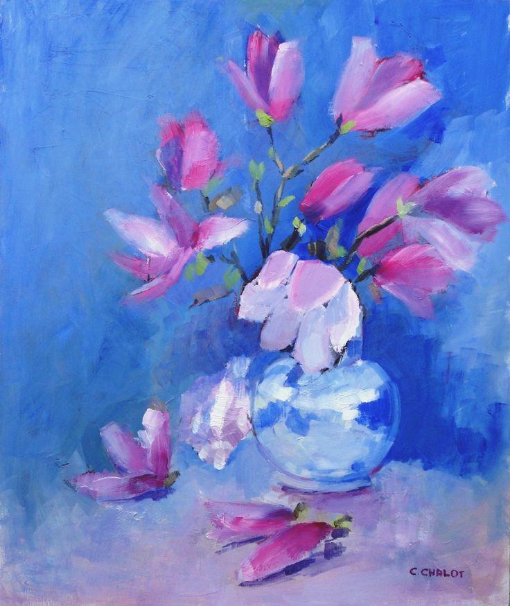 Magnolias dans un vase bleu et coquillage huile sur panneau de bois 46*55 cm
