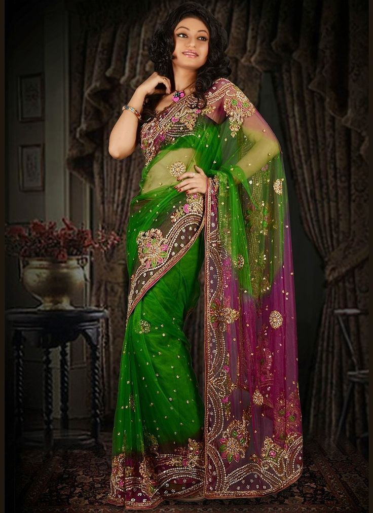 #Green Colored Netted #Saree  Check out this page now :-http://www.ethnicwholesaler.com/sarees-saris