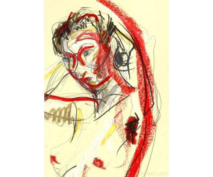 99-006 red, mixed media on paper (detail).