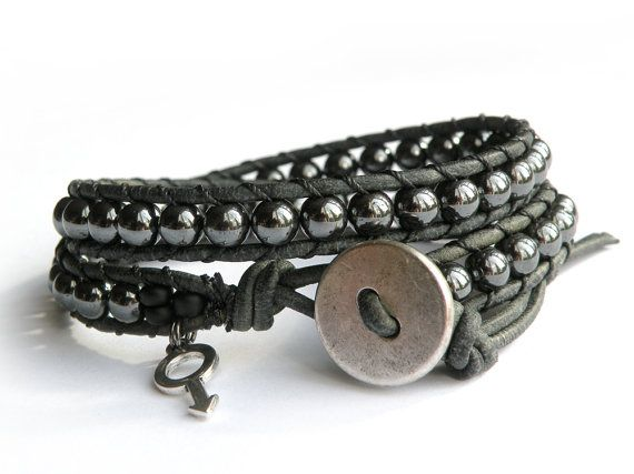 Men's+Chunky+Hematite+Distressed+Leather+Wrap+by+MyEdenTreasures