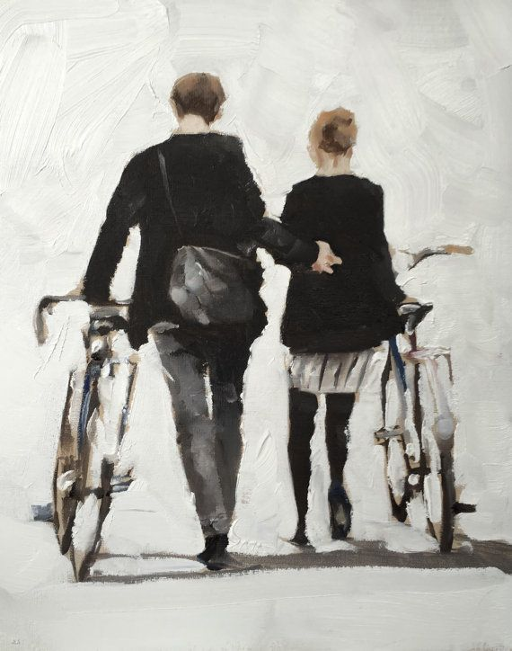 Couple Walking with Bicycles - Art Print - 8 x 10 inches - from original painting by J Coates
