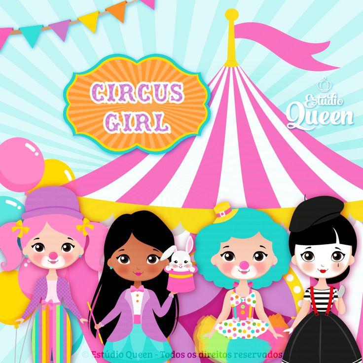 clipart circus, clipart circus girls, circo menina, festa menina, inspiração festa menina, festa tema circo