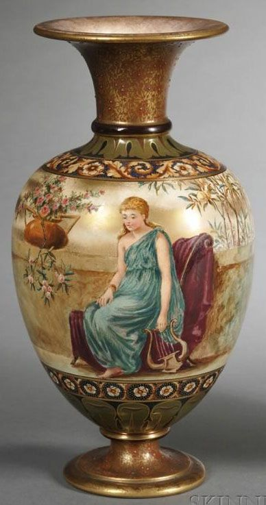 A Doulton Porcelain Burslem Hand Painted Vase, gilt trim with polychrome enameled depiction of a classical woman seated in a courtland setting, arabesque floral banded borders, England, circa 1876-1900