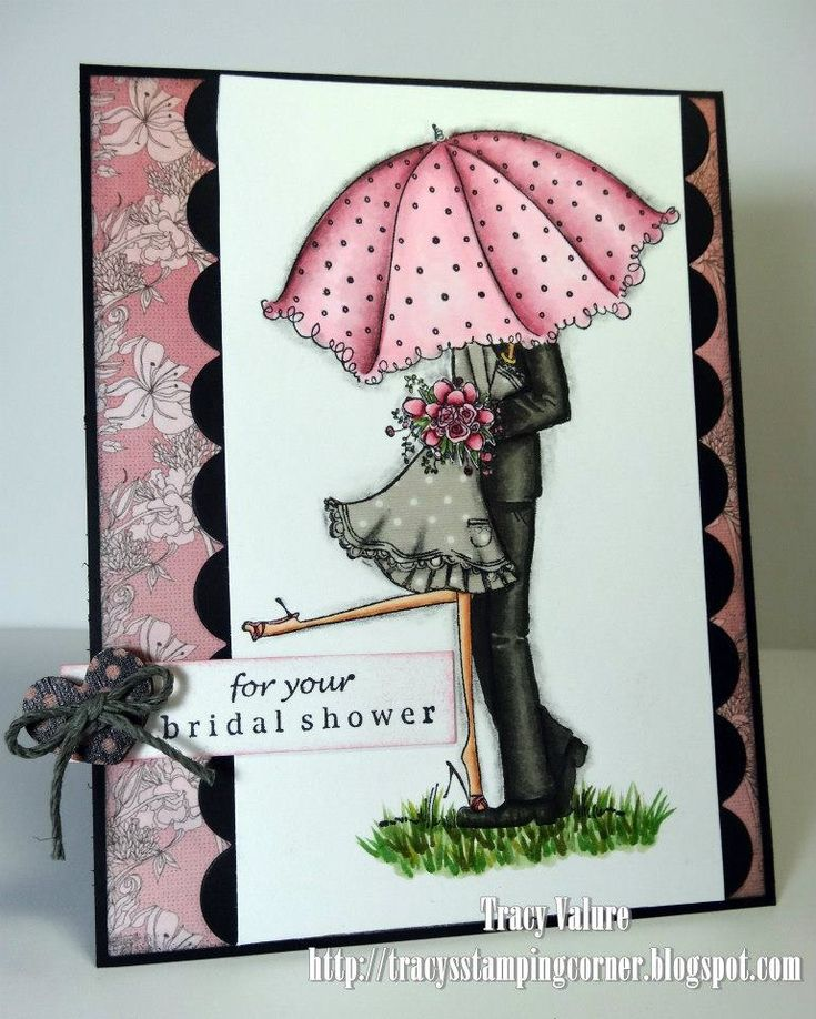 Copic card using the Stamping Bella - Emily and Ryan Under the Umbrella stamp.  Made by Tracy