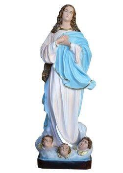 Assunta al Murillo  altezza cm. 157 in vetroresina disponibile anche con occhi di vetro dipinta con colori acrilici e finiture ad olio  http://www.ovunqueproteggimi.com/collezione-statue/madonne/assunta-al-murillo/