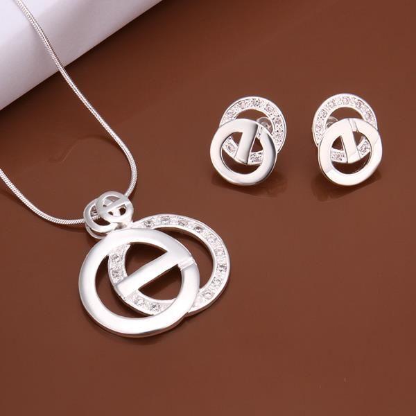 Оптовая Женская Мужская Мода Вставки Двойные Круглые Серьги Ожерелье S515 Наборы Оптовая Продажа Ювелирных Изделий