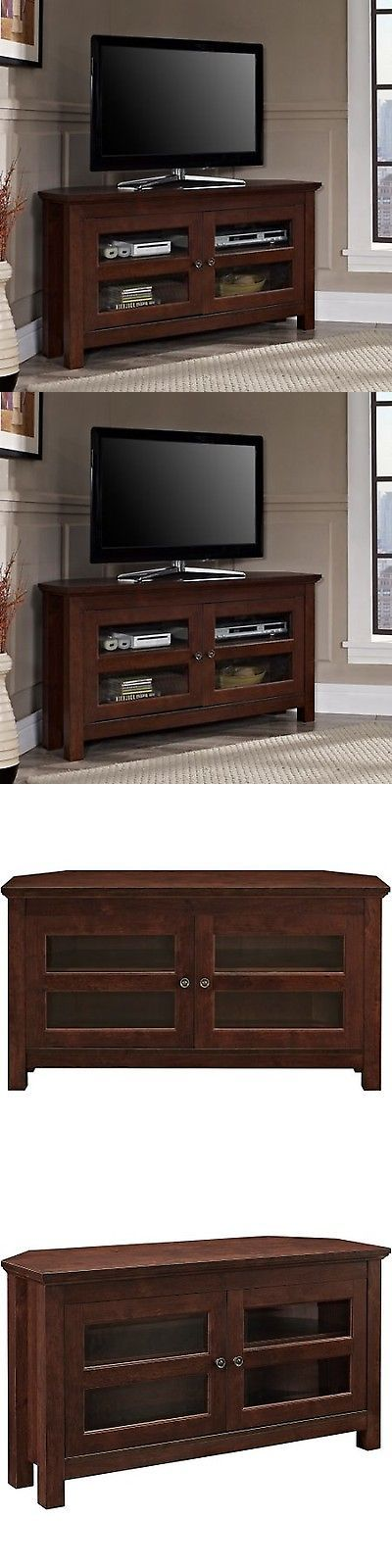 Entertainment Units TV Stands: Corner Tv Stand Media Console Entertainment Center Furniture Brown Wood New -> BUY IT NOW ONLY: $164.23 on eBay!