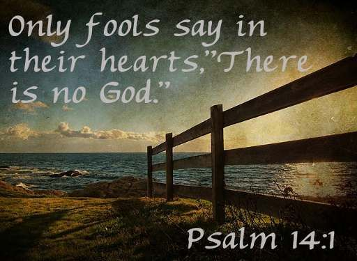 Only fools say in their hearts, 'There is no God.'   Psalm 14:1