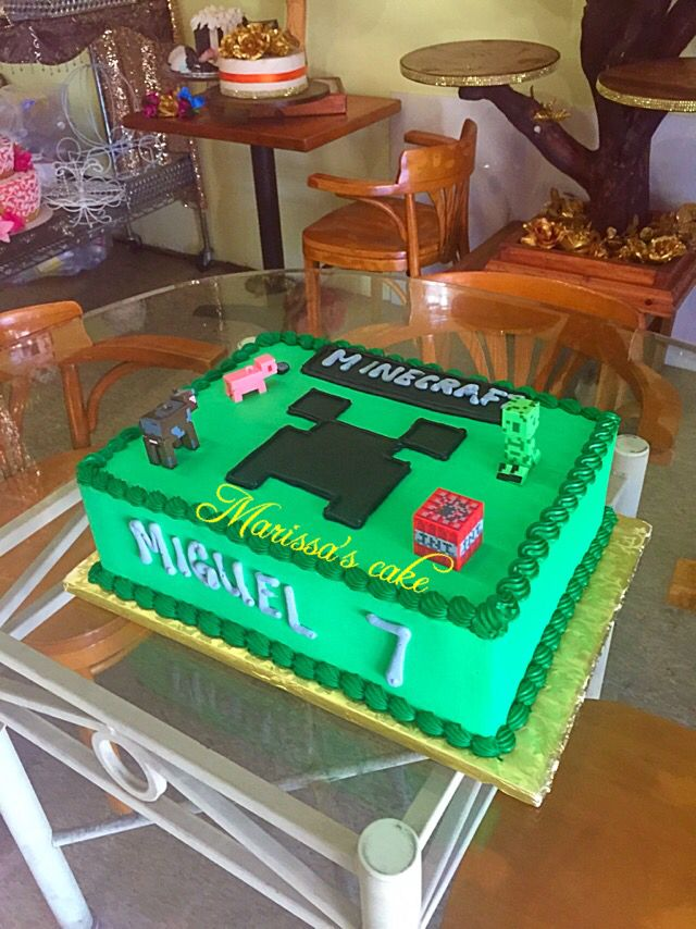Minecraft birthday cake. Visit us Facebook.com/marissa'scake or www.marissascake.com