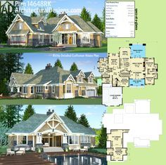 Architectural Designs Craftsman House Plan 14648RK gives you 3 beds on the main floor and a bonus bedroom above the garage. Ready when you are. Where do YOU want to build? #craftsman #houseplan