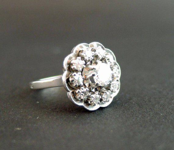 Vintage Diamonds Ring Platinum And White Gold Bague Diamant Bague Bagues Vintage