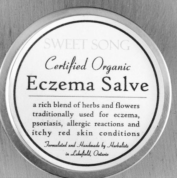 Eczema SalveEczema, Psoriasis 2 ounce Tin       This nutritious salve is an excellent remedy for any itchy, inflamed, irritated, red skin conditions. Used with success for eczema and allergic reactions. Would also be appropriate for treating: psoriasis, skin ulcers, cradle cap or any irritated skin disease.    Ingredients *Elder flower,* Calendula flower, *Chickweed, *Viola, *Marshmallow root, leaf and flower infused *Extra Virgin Olive oil,*Apricot Kernel oil, *Be...