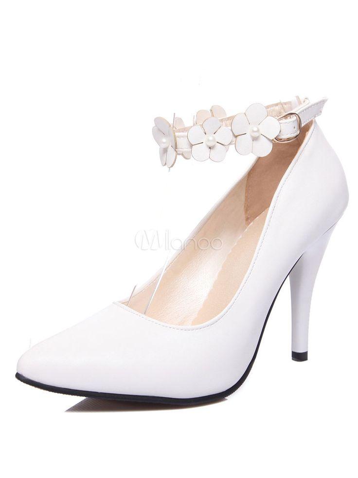 Zapatos de tacón altos rosa señalaron rosa flores moldeado tobillo correa zapatos de la bomba Toe Womens - Milanoo.com