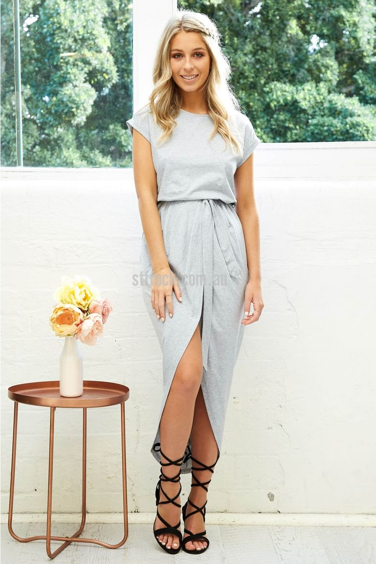 Compton Maxi Dress in Light Grey Marle | St. Frock