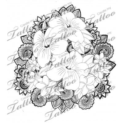 Quarter sleeve plumeria/hibiscus tattoo | Hibiscus / Plumeria Paisley lace #56076 | CreateMyTattoo.com