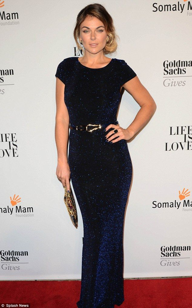 Canadian actress Serinda Swan  in a navy blue glittering gown and navy nails. Gorgeous