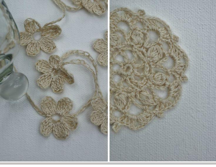 Collier en lin - fleur