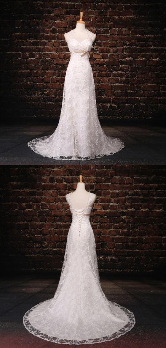 Vestidos de novia sin mangas de novia baratos Apliques de encaje Vestido de novia   – wedding dresses