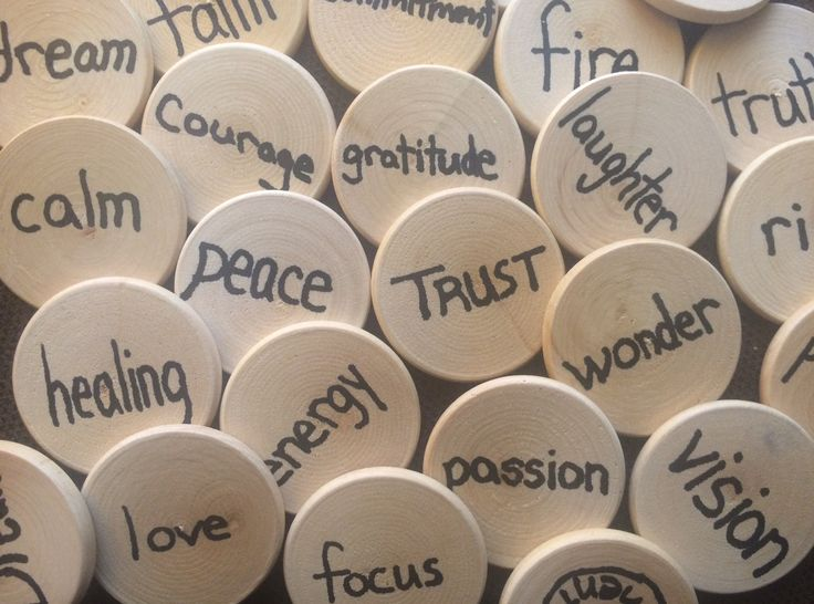 Blank wooden nickels, purchased at Michaels, with words written on them - words that invite us to consider the gifts God has entrusted to us. (from Matthew 25:14-29 - the parable of the talents)