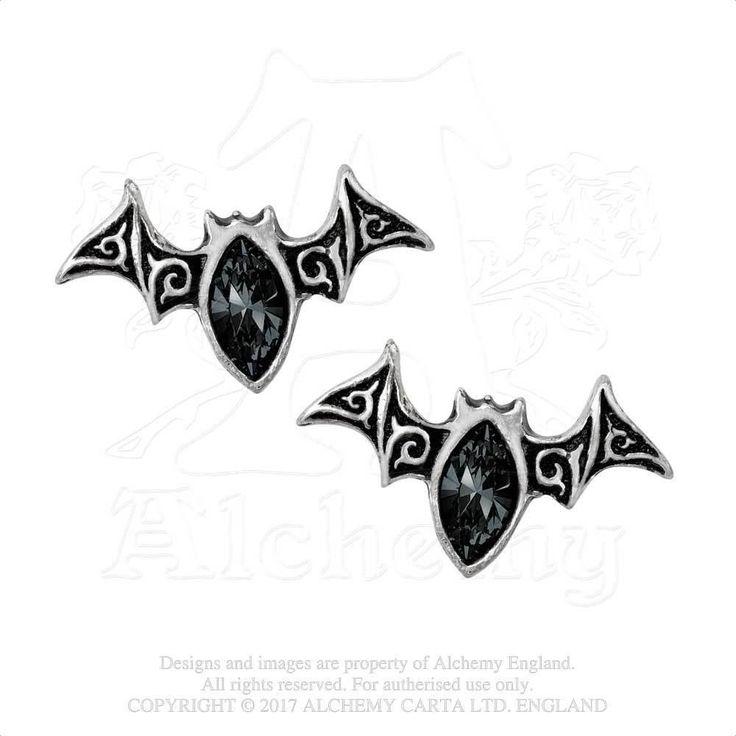 Alchemy Gothic Viennese Nights Studs Bat Earrings